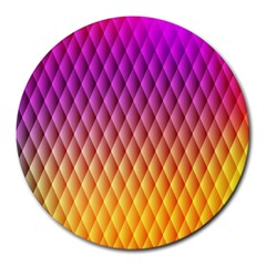 Triangle Plaid Chevron Wave Pink Purple Yellow Rainbow Round Mousepads