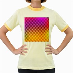 Triangle Plaid Chevron Wave Pink Purple Yellow Rainbow Women s Fitted Ringer T-Shirts