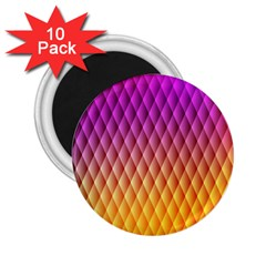Triangle Plaid Chevron Wave Pink Purple Yellow Rainbow 2.25  Magnets (10 pack)