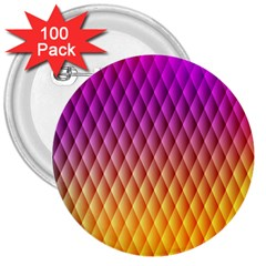 Triangle Plaid Chevron Wave Pink Purple Yellow Rainbow 3  Buttons (100 pack)