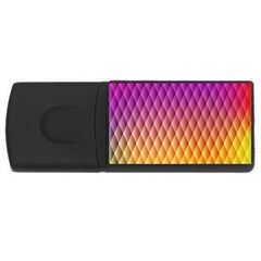 Triangle Plaid Chevron Wave Pink Purple Yellow Rainbow USB Flash Drive Rectangular (2 GB)