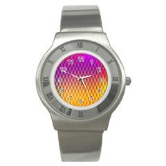 Triangle Plaid Chevron Wave Pink Purple Yellow Rainbow Stainless Steel Watch