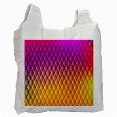 Triangle Plaid Chevron Wave Pink Purple Yellow Rainbow Recycle Bag (One Side)
