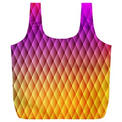 Triangle Plaid Chevron Wave Pink Purple Yellow Rainbow Full Print Recycle Bags (L)