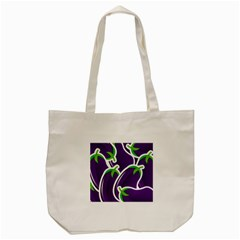 Vegetable Eggplant Purple Green Tote Bag (Cream)