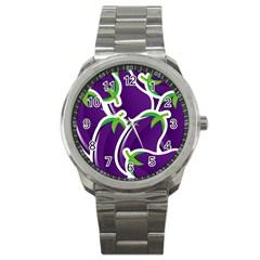 Vegetable Eggplant Purple Green Sport Metal Watch