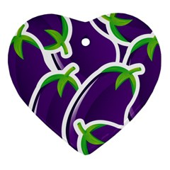 Vegetable Eggplant Purple Green Heart Ornament (Two Sides)