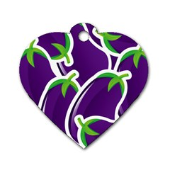 Vegetable Eggplant Purple Green Dog Tag Heart (Two Sides)