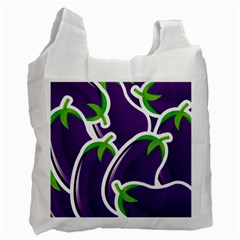 Vegetable Eggplant Purple Green Recycle Bag (Two Side)