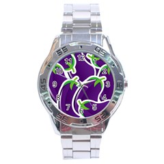 Vegetable Eggplant Purple Green Stainless Steel Analogue Watch