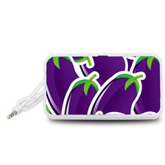Vegetable Eggplant Purple Green Portable Speaker (White)