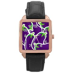 Vegetable Eggplant Purple Green Rose Gold Leather Watch