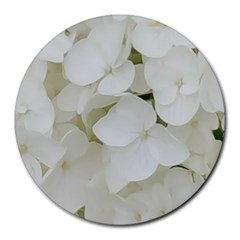 Hydrangea Flowers Blossom White Floral Photography Elegant Bridal Chic  Round Mousepads