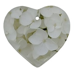 Hydrangea Flowers Blossom White Floral Photography Elegant Bridal Chic  Ornament (Heart)