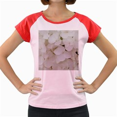 Hydrangea Flowers Blossom White Floral Photography Elegant Bridal Chic  Women s Cap Sleeve T-Shirt