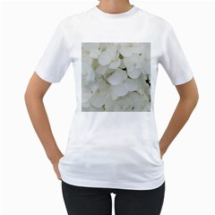 Hydrangea Flowers Blossom White Floral Photography Elegant Bridal Chic  Women s T-Shirt (White) (Two Sided)