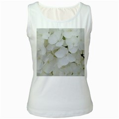 Hydrangea Flowers Blossom White Floral Photography Elegant Bridal Chic  Women s White Tank Top
