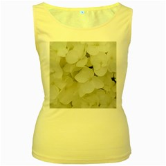 Hydrangea Flowers Blossom White Floral Photography Elegant Bridal Chic  Women s Yellow Tank Top