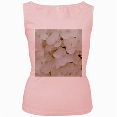 Hydrangea Flowers Blossom White Floral Photography Elegant Bridal Chic  Women s Pink Tank Top