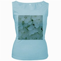 Hydrangea Flowers Blossom White Floral Photography Elegant Bridal Chic  Women s Baby Blue Tank Top
