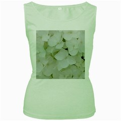 Hydrangea Flowers Blossom White Floral Photography Elegant Bridal Chic  Women s Green Tank Top