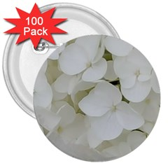 Hydrangea Flowers Blossom White Floral Photography Elegant Bridal Chic  3  Buttons (100 pack)