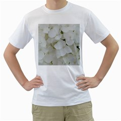 Hydrangea Flowers Blossom White Floral Photography Elegant Bridal Chic  Men s T-Shirt (White) (Two Sided)