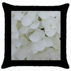 Hydrangea Flowers Blossom White Floral Photography Elegant Bridal Chic  Throw Pillow Case (Black)