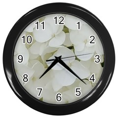 Hydrangea Flowers Blossom White Floral Photography Elegant Bridal Chic  Wall Clocks (Black)