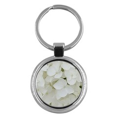 Hydrangea Flowers Blossom White Floral Photography Elegant Bridal Chic  Key Chains (Round)
