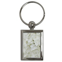 Hydrangea Flowers Blossom White Floral Photography Elegant Bridal Chic  Key Chains (Rectangle)