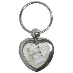 Hydrangea Flowers Blossom White Floral Photography Elegant Bridal Chic  Key Chains (Heart)