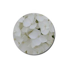 Hydrangea Flowers Blossom White Floral Photography Elegant Bridal Chic  Rubber Coaster (Round)
