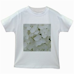 Hydrangea Flowers Blossom White Floral Photography Elegant Bridal Chic  Kids White T-Shirts