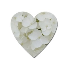 Hydrangea Flowers Blossom White Floral Photography Elegant Bridal Chic  Heart Magnet