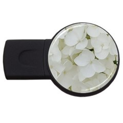 Hydrangea Flowers Blossom White Floral Photography Elegant Bridal Chic  USB Flash Drive Round (1 GB)