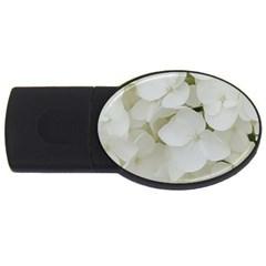 Hydrangea Flowers Blossom White Floral Photography Elegant Bridal Chic  USB Flash Drive Oval (1 GB)
