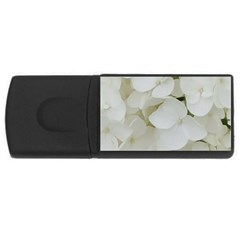 Hydrangea Flowers Blossom White Floral Photography Elegant Bridal Chic  USB Flash Drive Rectangular (2 GB)