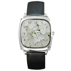 Hydrangea Flowers Blossom White Floral Photography Elegant Bridal Chic  Square Metal Watch