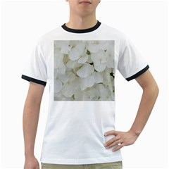 Hydrangea Flowers Blossom White Floral Photography Elegant Bridal Chic  Ringer T-Shirts