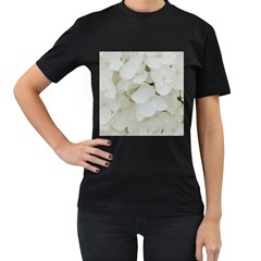 Hydrangea Flowers Blossom White Floral Photography Elegant Bridal Chic  Women s T-Shirt (Black) (Two Sided)