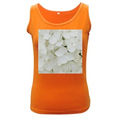 Hydrangea Flowers Blossom White Floral Photography Elegant Bridal Chic  Women s Dark Tank Top