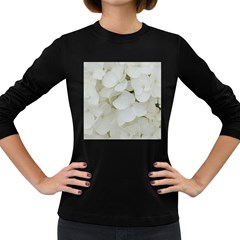 Hydrangea Flowers Blossom White Floral Photography Elegant Bridal Chic  Women s Long Sleeve Dark T-Shirts