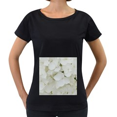 Hydrangea Flowers Blossom White Floral Photography Elegant Bridal Chic  Women s Loose-Fit T-Shirt (Black)