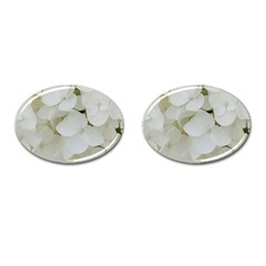 Hydrangea Flowers Blossom White Floral Photography Elegant Bridal Chic  Cufflinks (Oval)