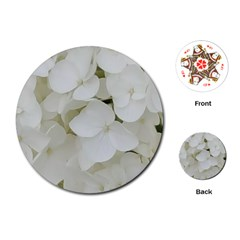 Hydrangea Flowers Blossom White Floral Photography Elegant Bridal Chic  Playing Cards (Round)