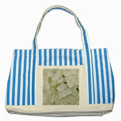 Hydrangea Flowers Blossom White Floral Photography Elegant Bridal Chic  Striped Blue Tote Bag
