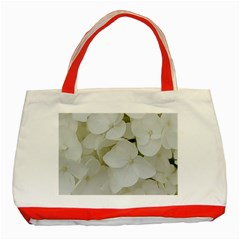 Hydrangea Flowers Blossom White Floral Photography Elegant Bridal Chic  Classic Tote Bag (Red)