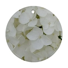 Hydrangea Flowers Blossom White Floral Photography Elegant Bridal Chic  Round Ornament (Two Sides)