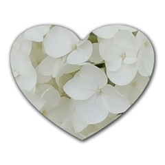 Hydrangea Flowers Blossom White Floral Photography Elegant Bridal Chic  Heart Mousepads
